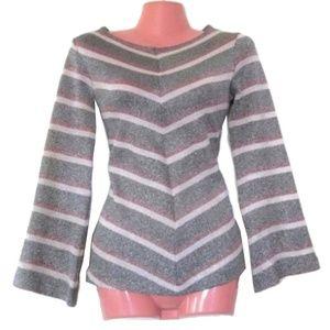 1970 vintage silver metallic sweater size xs disco